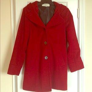 Liz Claiborne red hooded pea coat